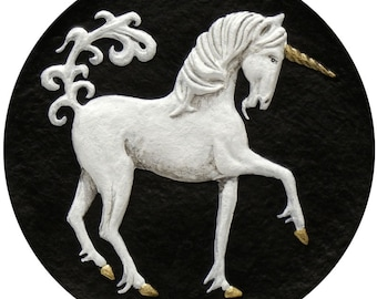 Unicorn - Cast Paper - Fantasy art  - legendary creature - mythology - magical horse