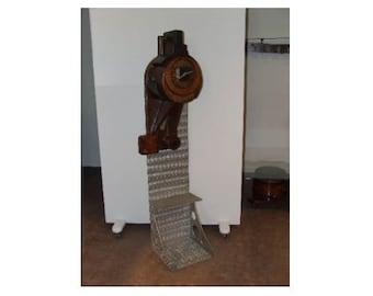 Vintage Wooden Mounted Clock Industrial Salvage Re-purposed Custom Art