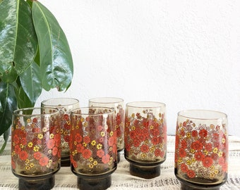 Darling Set of 6 Vintage Flower Drinking Glasses / Yellow and Peach Floral Print Glassware / Brown Tinted Retro Tumblers