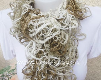 Scarf froufrou woman with champagne and light brown mottled color wheel