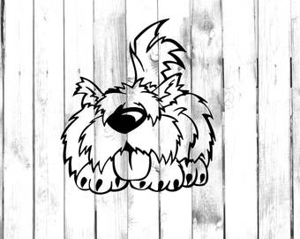 Puppy Dog Decal - Hairy, Fluffy Dog with Tongue Sticking Out Sticker - Di Cut Decal - Home/Laptop/Computer/Truck/Car Bumper Sticker Decal