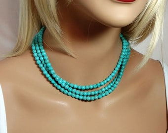 "Single Strand Beaded Turquoise Mint Necklace Small 6mm Beads with 2"" Extender Chain"