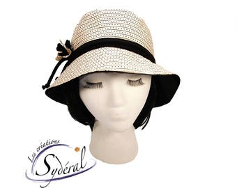 Ladies summer hat beige with small black stripes, summer hat, coton hat, beach hat, travel hat, sun hat, women summer hat, sun protection