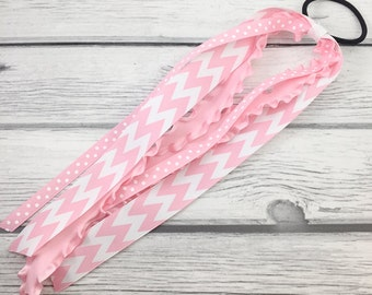 Pink Chevron Mix Ponytail Ribbon Streamer