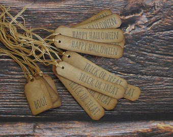Boo * Trick or Treat * Happy Halloween Hang Tags ~ Coffee Stained ~ Primitive Farmhouse Tags ~ Halloween Gift Tags ~ Handmade