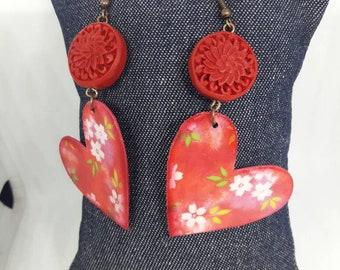 Red Flower Earrings (Paper healing)