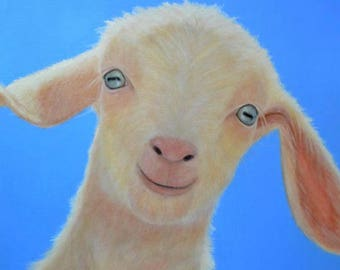Goat Magnet - White Goat Magnet - Baby Goat Art - Proceeds Benefit Animal Charity