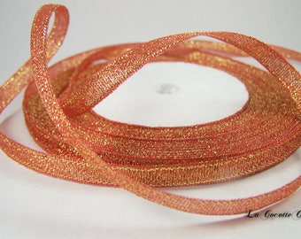 organza Ribbon, glitter red / gold plated 6 mm x 1 m