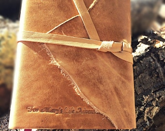 REAL LEATHER JOURNAL Brown Hand Torn Personalized Rustic Leather Journal Sketchbook Notebook Travel Gift Journal in Primitive Brown