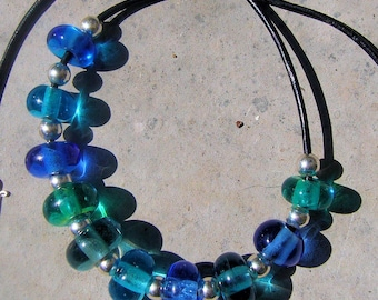 blue glass and silver medieval style necklace
