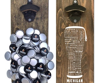 Magnetic Wall Mounted Bottle Opener - Michigan Craft Beer Typography - Holds 150+ Caps - Father's Day Gift - Man Cave - Groomsmen Gift