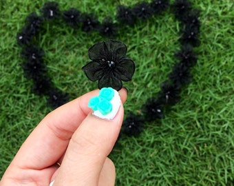 Black Chiffon Beaded Flowers (25mm each- 25 pieces), Flowers with Pearl, Sewing Applique, Organza Bows, Lingerie Bows, Black Bows