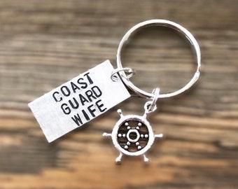 Military Coast Guard Keychain | Military Coast Guard Necklace | Coast Guard Girlfriend | Coast Guard Wife |  Coast Guard Sister |