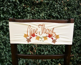 Give Thanks Stretch Chair Band~Cream~Fall Decor~Thanksgiving~Autumn~Holiday Decor