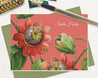 personalized stationery set - PASSION FLOWER - set of 8 folded note cards - floral stationary - botanical - tropical flower