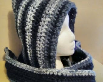 Crocheted warm hooded scarf