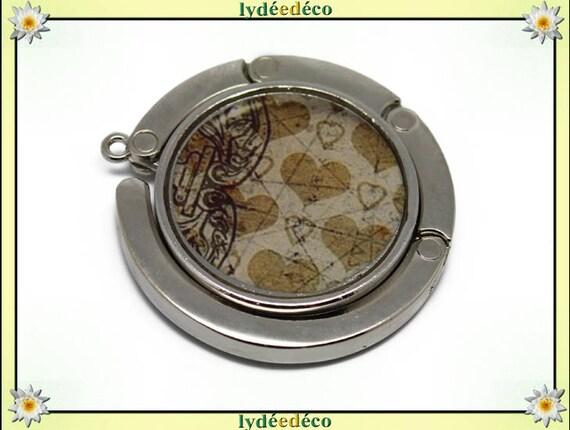 Bag retro hearts Arabesque beige white black silver resin on metal hook