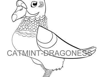 Fancy Pidgeon // Digital Coloring Page