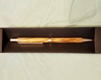 Satin pearl slim line pencil on Roman Olive wood