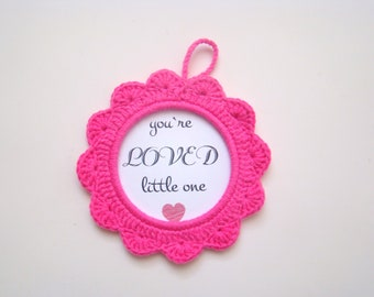 Pink crochet photo frame nursery decor baby shower favors baby shower gifts baby gender announcement ideas pregnancy announcement wall decor