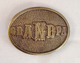 OVAL BRASS GRANDPA Belt Buckle Vintage