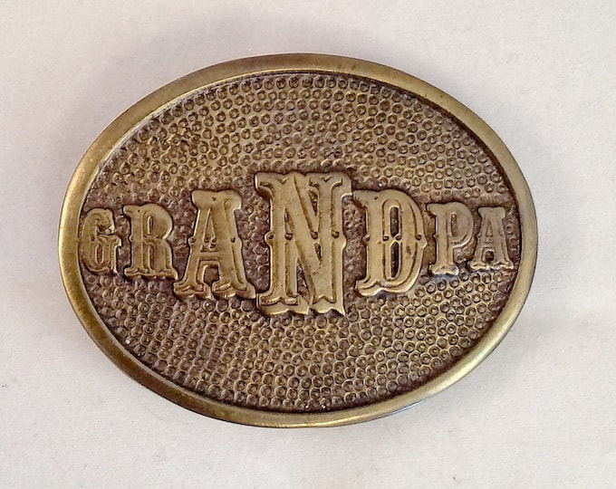 OVAL BRASS GRANDPA Belt Buckle Vintage