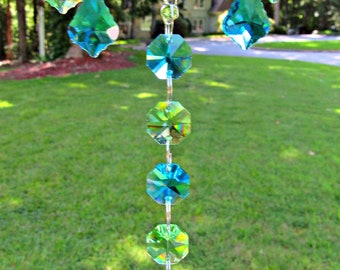 Spring Green and Teal Crystal Dragonfly Sun Catcher, Dragonfly Gift,  Mirror Accent, Crystal Suncatcher, Mirror Charm, 30mm crystal ball
