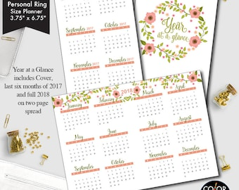 Personal Ring size Year at a glance printable insert, 2017 and 2018 Planner Insert.  CMP-235.8