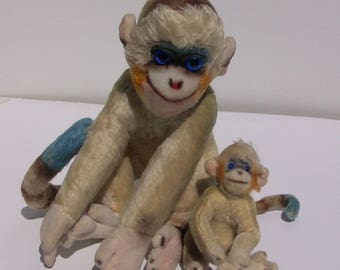 Vintage Stieff Monkey - Large and Small, Stuffed Animals