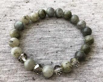 Labradorite Bracelet, Stretchy Bracelet, Beaded Bracelets, Bracelets for Women, Boho Bracelets, Stackable Bracelets, Unique Jewelry
