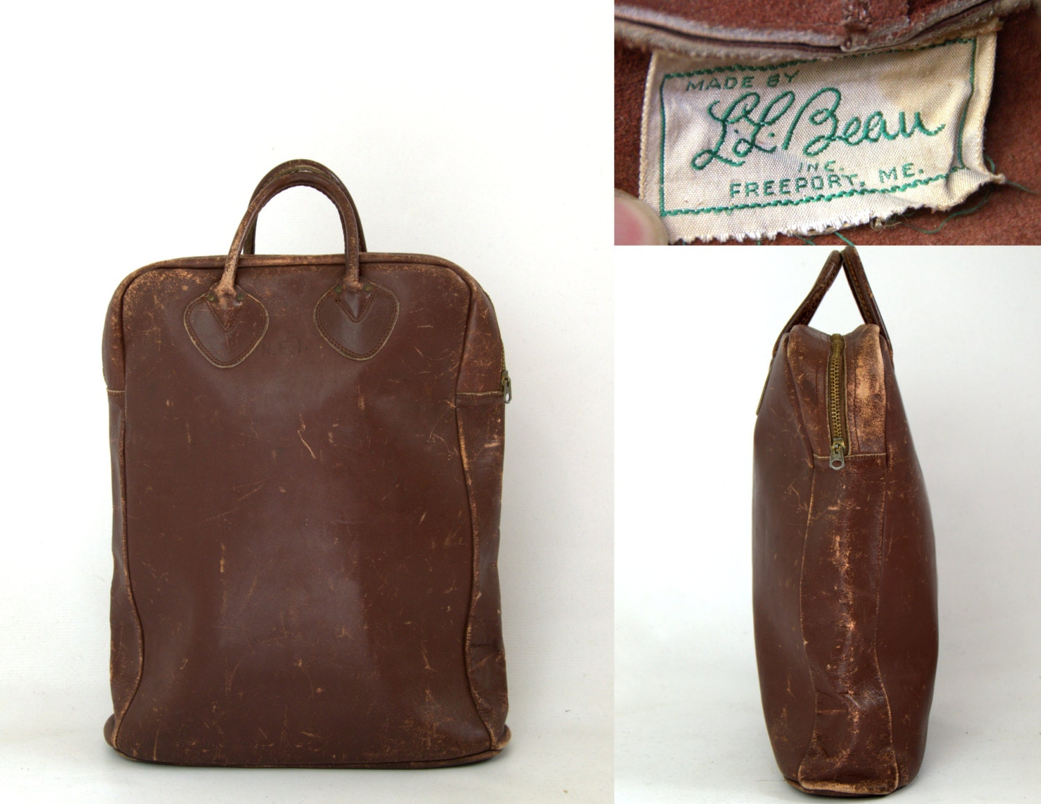 1940s LL Bean Leather Field Tote Shopper Bag