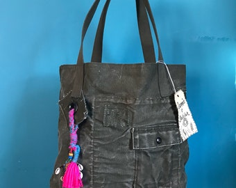 Reconstructed Military Canvas Tote Bag