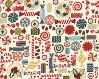 Christmas Fabric - Christmas Candy - Hard Candy - Nutcracker - Winter Village -  Moda 30553 11 White - Priced by the half yard
