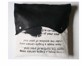 Handbag, Clutch, e.e. cummings Poetry Bag, Black Leather, Gifts, Purse, canvas Pouch, Romantic
