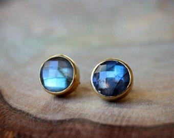 Labradorite Bezel Set Stud Post Earrings.....LIMITED EDITION