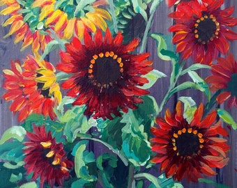Red Sunflowers Original Acrylic Painting