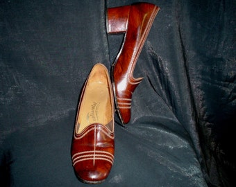 60s 7 1/2 AA Continental Pumps SHOES Mahogany Brown Patent Leather