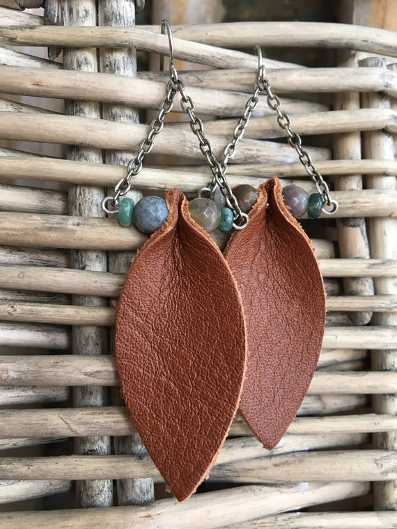 Leather Earrings - Leaf and Agate Boho Statement Earrings - Bohemian Dangle Earrings - Gift for Her, Gift for Mom, Leather Jewelry