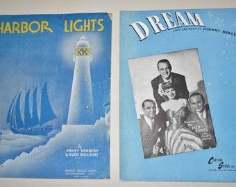 1937 1944  Sheet Music - 2 Pieces ~ Harbor Lights & Dream