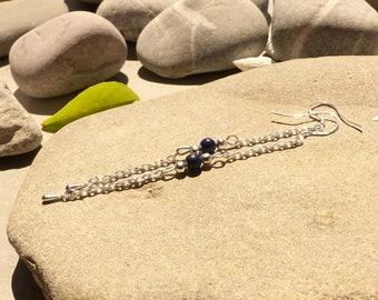 Ear studs in Lapis lazuli, lapis lazuli designer jewelry, earrings, lapis lazuli, jewelry designer lapis lazuli