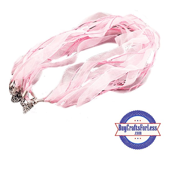 Ribbon CORD necklace, light PINK +FREE Shipping & Discounts**
