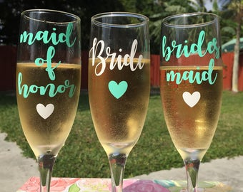 Personalized Bridal Party Champagne Glasses | Bridesmaid Glasses | Maid of honor | Matron of honor