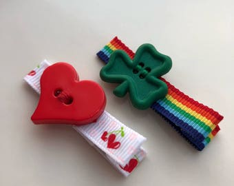 Red Valentine Heart and Green St Patricks Shamrock Hair Clip Set | Holiday Hair Barrettes for Newborn, Baby, Girls | Set of 2 Clips