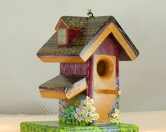 Maroon and Brown Decorative Birdhouse , Handmade and Hand Painted