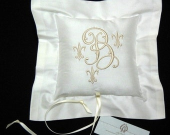 Silk Ring Bearer Pillow, Ring Pillow, Fleur de Lis, Style 4206