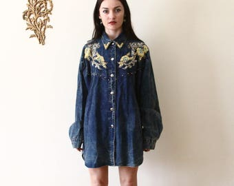 90s oversized denim button down shirt - beaded - country western cowgirl clothing - denim dress - large