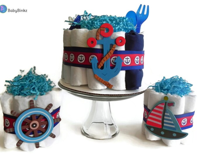 Diaper Cake Party Pack - Nautical Anchor, Sailboat & Boat Steer - baby shower gift decoration baby boy blue red navy gift centerpiece