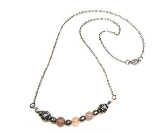 Stunning Agate and Silver Chain Necklace