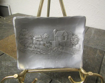 Wendell Forged Art Iron August Dish, change tray , Old farm scene,  dish