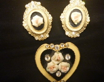 Vintage Victorian Rose on Black on Gold EARRINGS and BROOCH